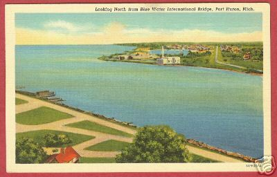 PORT HURON MICHIGAN North fr Blue Water Bridge Linen MI