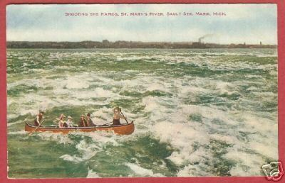 Soo MI Shooting Rapids St Mary's River Postcard BJs