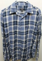 Polo Jeans Ralph Lauren Cowboy Blue Checkered Flannel Shirt Medium 100% Cotton - $16.84
