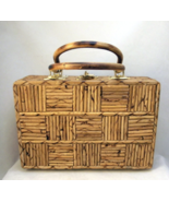 Vintage bamboo wood checkered handbag purse Hon... - $40.00