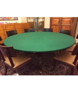 "Felt Poker Tablecloth - GREEN game table cover - fit 72"" round table - d... - $75.00"