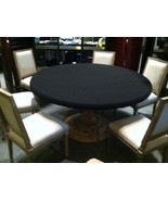 "Felt Poker Tablecloth - BLACK game table cover - fit 72"" round table - d... - $75.00"