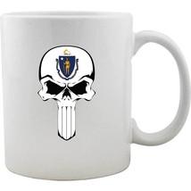 Original Massachusetts State Flag Molon Labe Skull Mug - £9.73 GBP