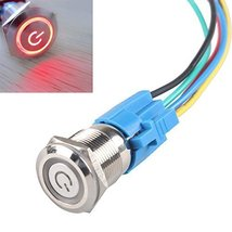 E Support 19mm 12V 5A Power Symbol Angel Eye Halo Car Red LED Light Metal Pus... - $6.95