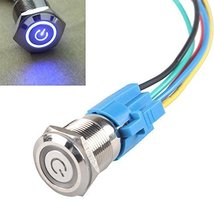 E Support 19mm 12V 5A Power Symbol Angel Eye Halo Car Blue LED Light Metal Pu... - $6.95