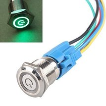E Support 19mm 12V 5A Power Symbol Angel Eye Halo Car Green LED Light Metal P... - $6.95