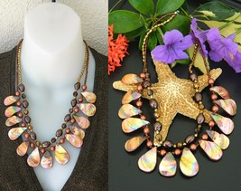 Vintage EsMor Necklace Seashells Amber Iridescent MOP Shells 2 Strand - $26.95