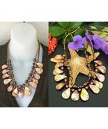 Vintage EsMor Necklace Seashells Amber Iridescent MOP Shells 2 Strand - $26.95