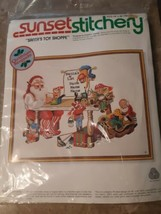 "Vintage Sunset Stitchery Santa's Toy Shoppe Craft Kit Needlepoint 14"" x 18"" - $29.65"