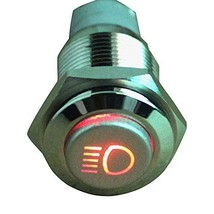 E Support 12V Car Red LED Main Beam Symbol Push Button Metal Switch - $5.92