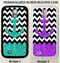 MINT PURPLE ANCHOR NO GLITTER BW CHEVRON MONOGRAM Case For Samsung Galax... - $11.99+