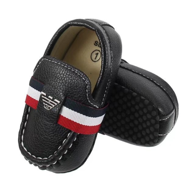 Newborn Black Soft Toddler Shoes Leather Black Baby Dress Shoes A5559 for sale  USA