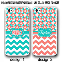 NEW PERSONALIZED TEAL CORAL MOROCCAN CHEVRON MONOGRAM CASE FOR IPHONE 6 ... - $12.99+