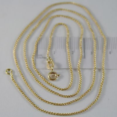 SOLID 18K YELLOW GOLD SPIGA WHEAT EAR CHAIN 16 INCHES, 1.2 MM, MADE IN ITALY
