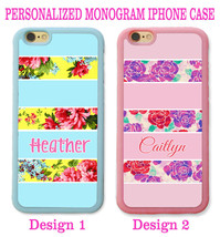 PERSONALIZED BLUE PINK STRIPES RED FLORAL MONOGRAM CASE FOR IPHONE 6 4S ... - $262,59 MXN+