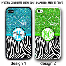 LOVE INFINITY BLUE GREEN BLACK ZEBRA PRINT MONOGRAM CASE FOR IPHONE 6 / ... - $12.99+