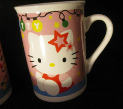 Hello Kitty Christmas Coffee Mug Pink Cat Cup Sanrio Lights Pink Tree Ho... - $11.00