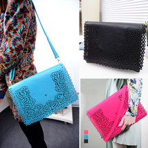 New Womens Hollow Out Faux Leather Clutch Envel... - $16.39