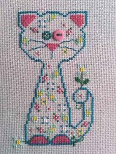 Blossom Whiskerins cat cross stitch chart CM Designs