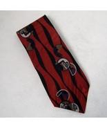 Zylos George Machado Neck Tie Red Black 100% Italian Silk Abstract Geome... - $29.00