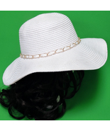 Large Hand-Decorated Wide-Brim Floppy Women's Sun Hat In White And Gold - $8.95