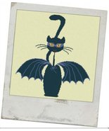 Bat Meow halloween cross stitch chart Alessandra Adelaide Needlework - $15.30