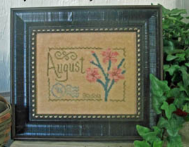August Floral Postcard cross stitch chart From The Heart  - $5.00