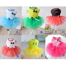 Small Dog Cat Clothes Cute Pet Dog Dress Crystal Bow Lace Skirt Princess... - $8.54