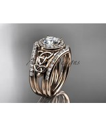 Unique engagement ring set, Celtic bridal ring with double wedding bands... - $2,905.00