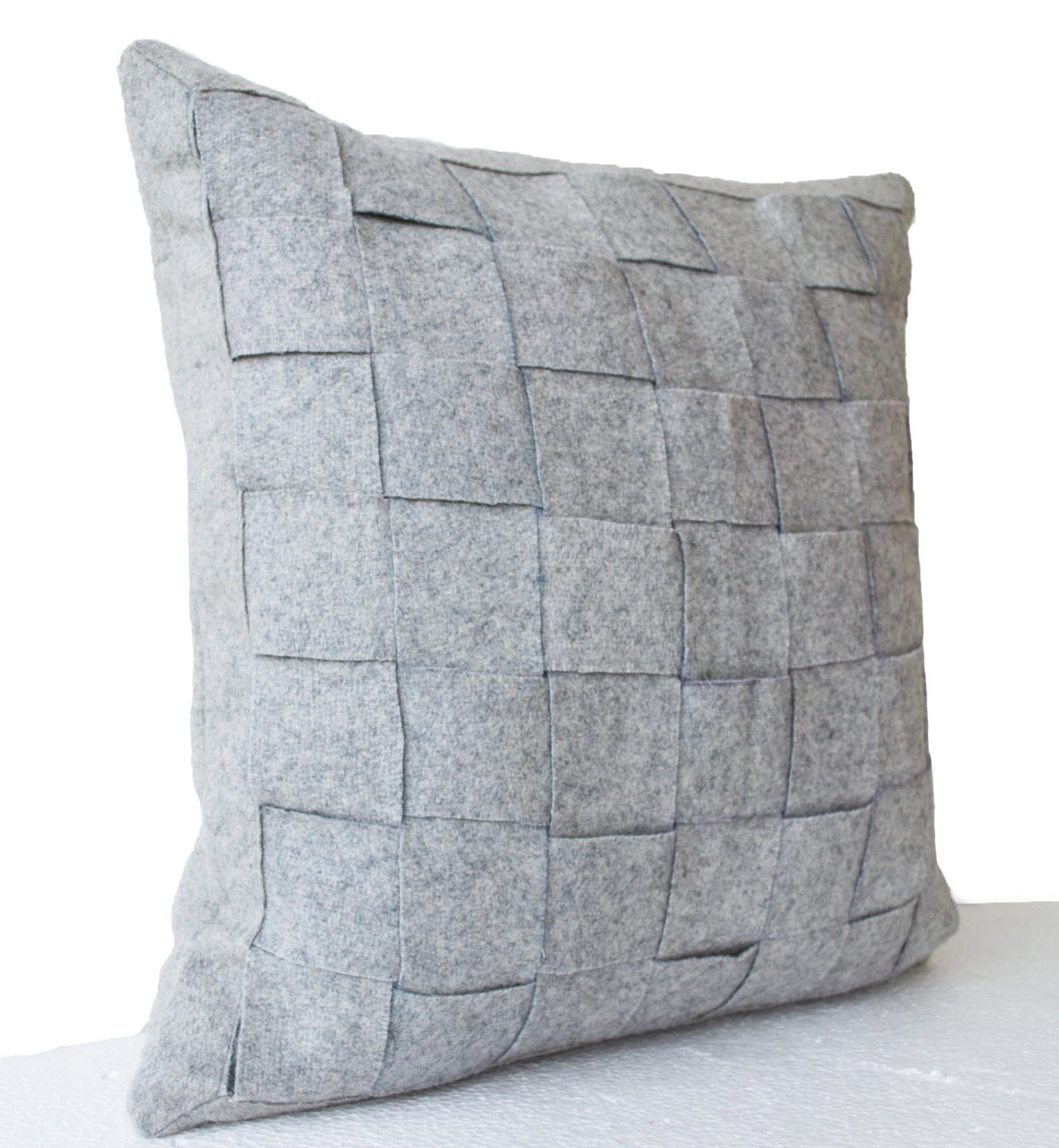 Gray felt pillowcases felt weave throw pillow decorative for Decor pillows