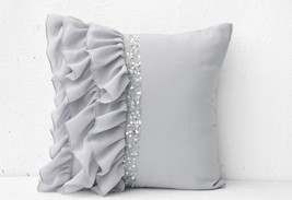 Silver Grey Pillow Ruffled Sequin Pillow Decora... - $52.00