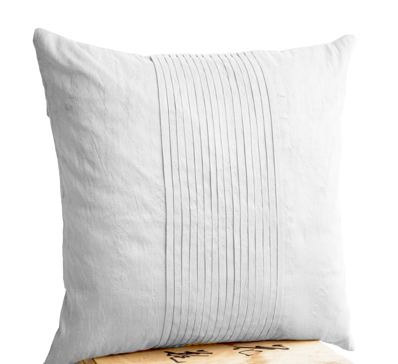 White Silk Ripple Pillow Decorative Pillow White Pintuck Pillow Throw Pillow - Pillows