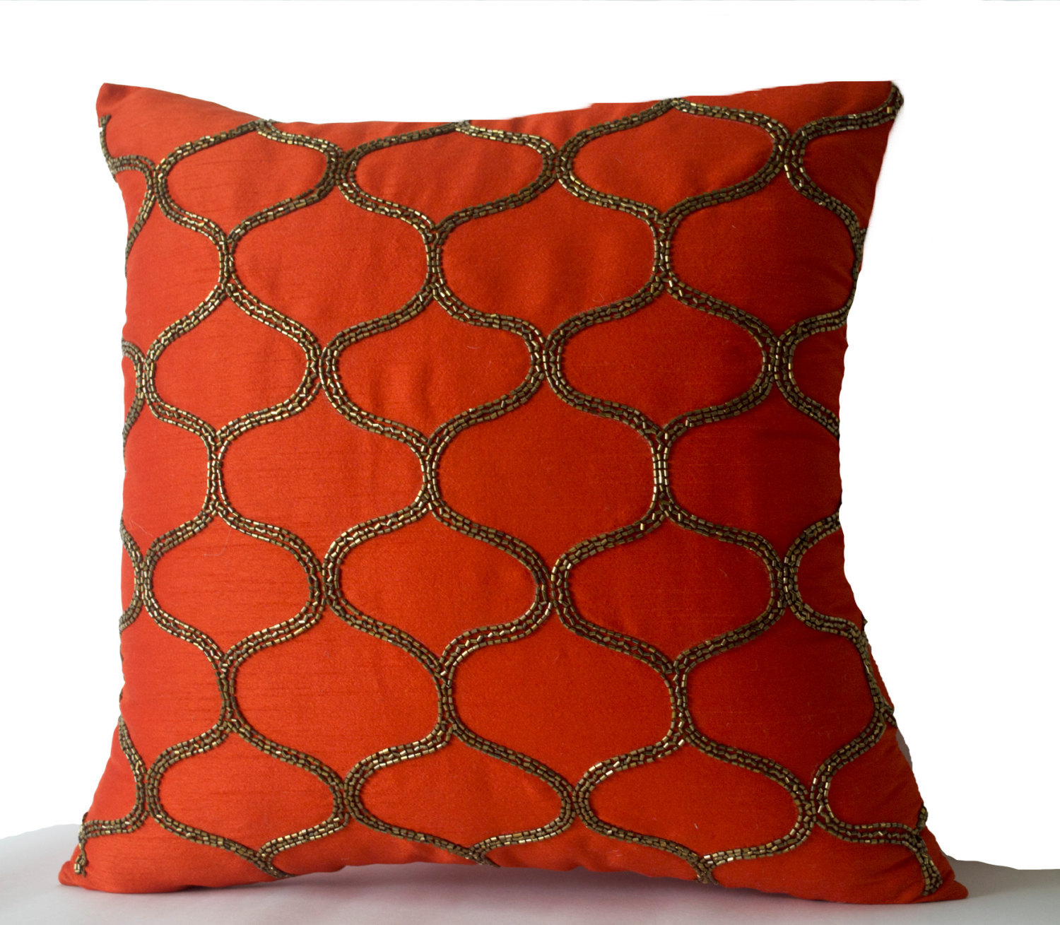 Orange Decorative Pillow Orange Silk Pillow Orange Brown Gold Throw Pillow - Pillows