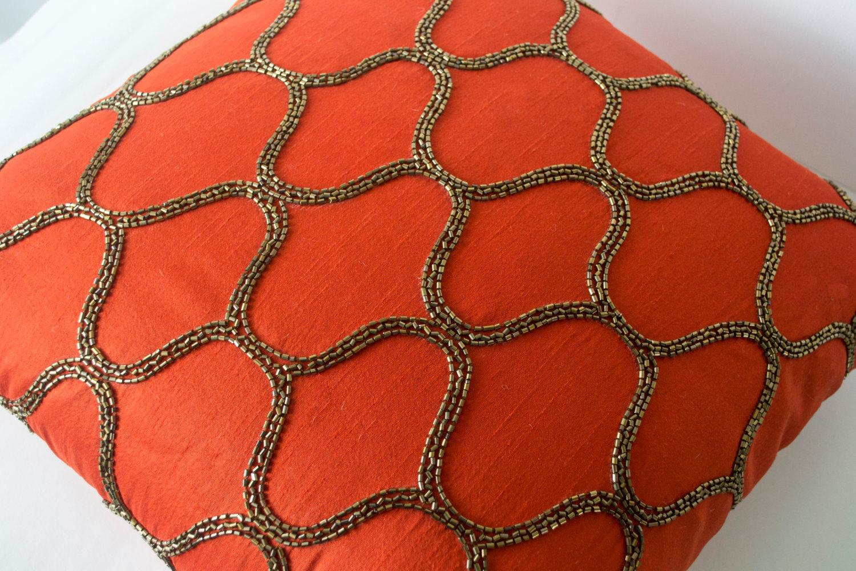 Gold Silk Decorative Pillow : Orange Decorative Pillow Orange Silk Pillow Orange Brown Gold Throw Pillow - Pillows