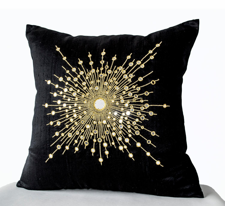 Decorative Throw Pillow Cover Premium Beaded Pure Silk