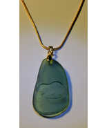 Frosted Teal Genuine Sea Glass Engraved MUSKRAT Necklace! - $49.00