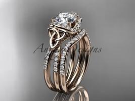 Engagement ring set, Celtic engagement ring set, 14kt rose gold diamond c - $2,650.00