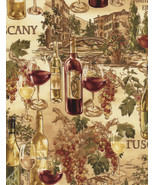 Wine Country-Timeless Treasures-Maps-Bottles-Glasses-Roads-Cream B/G-BTY - $9.95