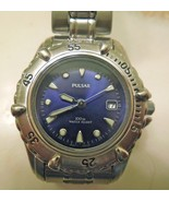 PULSAR VX82-X215 STAINLESS STEEL WATCH BLUE DIAL ILLUMINATED - DATE LADI... - $49.99