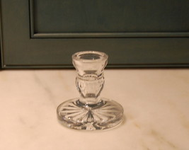Waterford Irish Crystal Cut Glass Short Candlestick Oval Cut Stem Star Base - $25.00