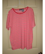 Liz Claiborne Red With White Double Stripe Short Sleeve Top Size M - $12.89