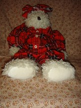 Boyds Bears Ophelia W. Witebred Plush Bear Wearing Plaid PJ's - $15.49