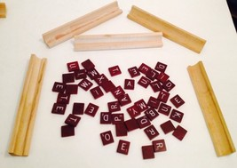 LOT OF 50 SCRABBLE TILES MAROON GAME SCRAP BOOK CRAFTS UNUSUAL PIECES WO... - $7.12