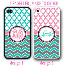 PINK TEAL TRELLIS MOROCCAN DUAL GREY CHEVRON MONOGRAM CASE FOR IPHONE 6 ... - $12.99+