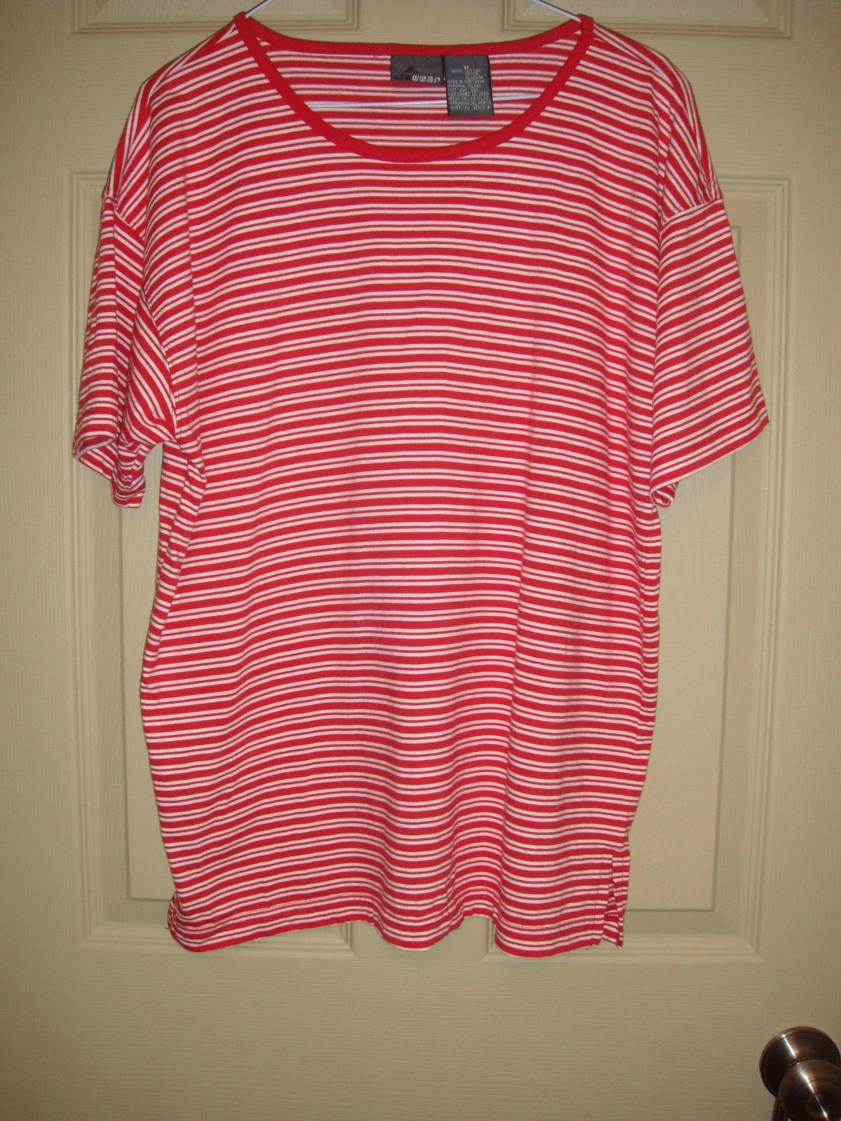 Liz Claiborne Red With White Double Stripe Short Sleeve Top Size M