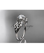 14kt white gold diamond celtic trinity knot wedding ring, engagement rin... - $775.00