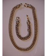 Heavy Ornate Goldtone Signed Rope Chain Necklace Bracelet Set - $21.95