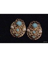 Vintage W Germany Clip-on Earrings Aqua Cabocho... - $15.79