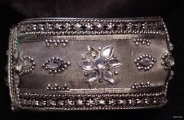 Elegant Vintage Wide Cuff Bracelet Light Blue Rhinestones High relief detail - $32.95