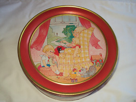 """Red Cake Tin 10"""" x 4"""" Mother Reading To Childre... - $15.00"""